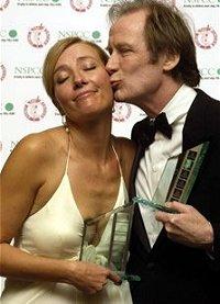 Bill Nigh kissing Emma Thompson